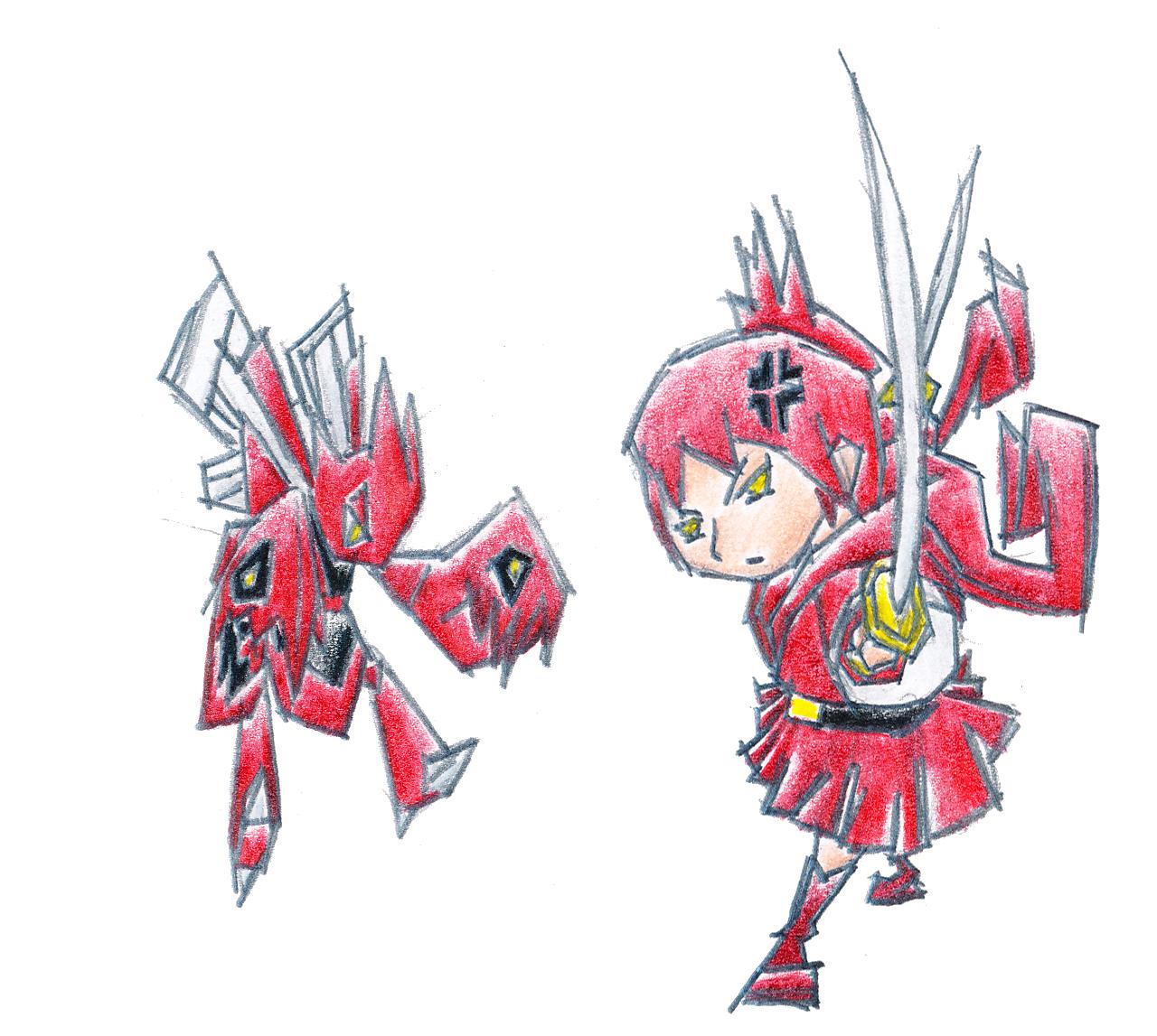 Pokémon-Zeichnung: Scherox Gijinka