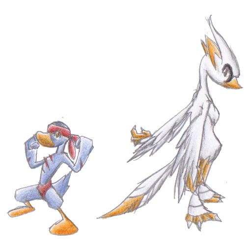 Pokémon-Zeichnung: Enteka und Swanjitsu