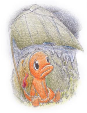 Pokémon-Zeichnung: Glumanda im Regen