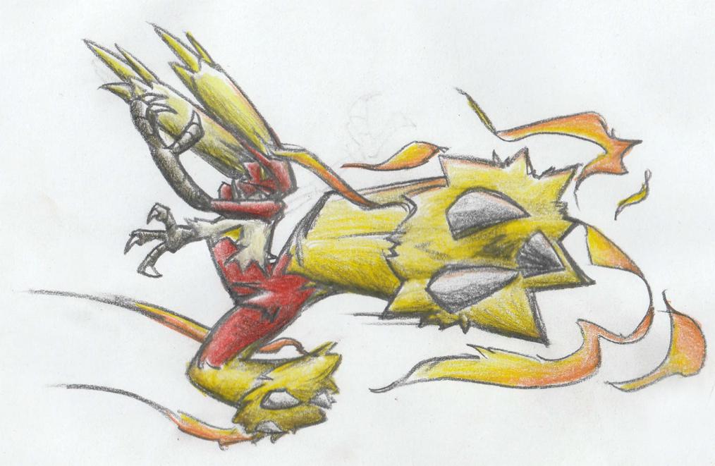 Pokémon-Zeichnung: Lohgock benutzt Feuerfeger!