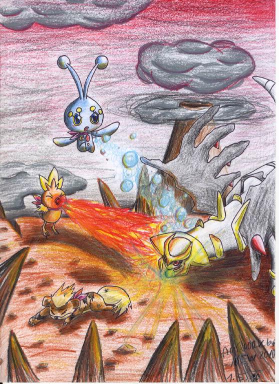 Pokémon-Zeichnung: Team Sucune : Kampf gegen Giratina