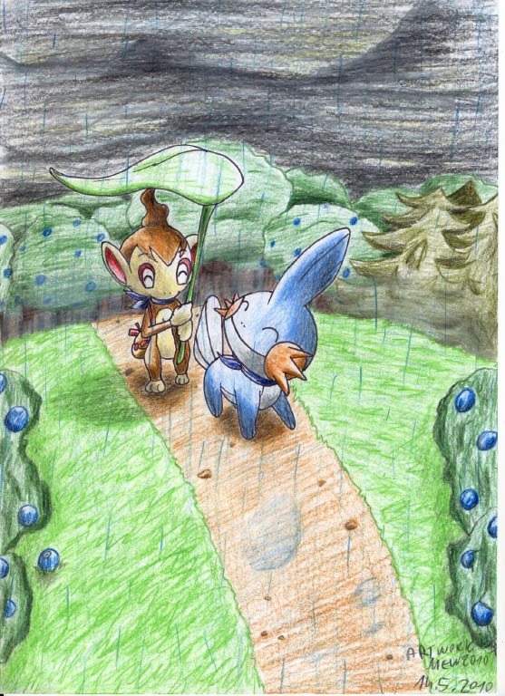 Pokémon-Zeichnung: Walk through the rain