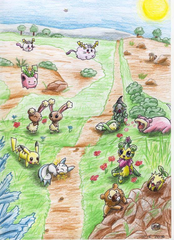 Pokémon-Zeichnung: Pokémon-Spielwiese
