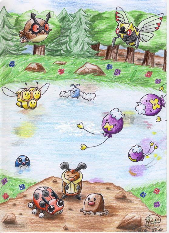 Pokémon-Zeichnung: Geheimnisvoller Bergsee
