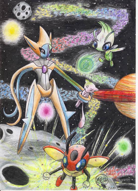Pokémon-Zeichnung: Team Mew2010 : Kampf gegen Deoxys