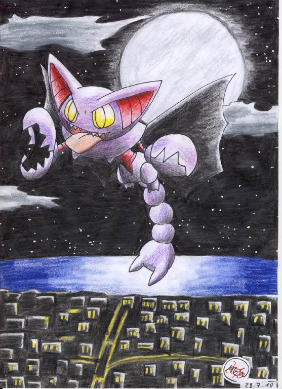 Pokémon-Zeichnung: Flug bei Vollmond