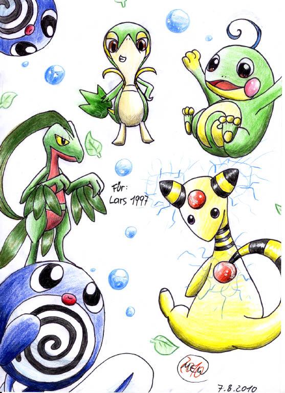 Pokémon-Zeichnung: Dein Pokemon Team