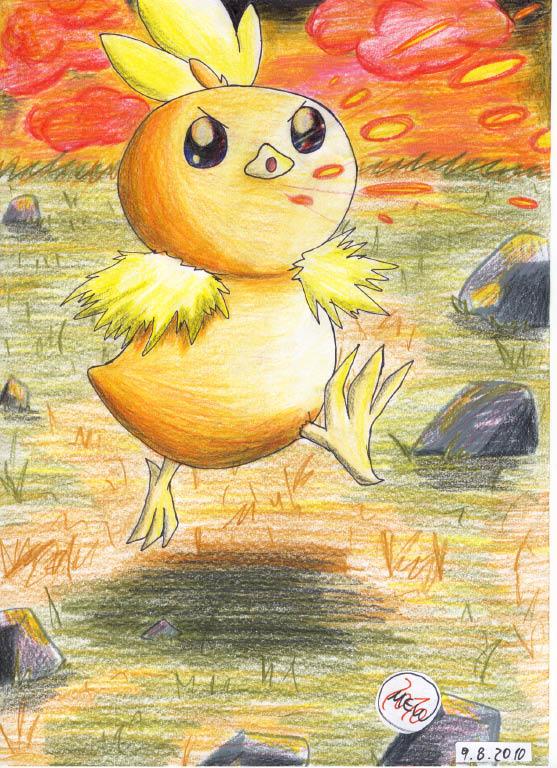 Pokémon-Zeichnung: Glut bei Dämmerung