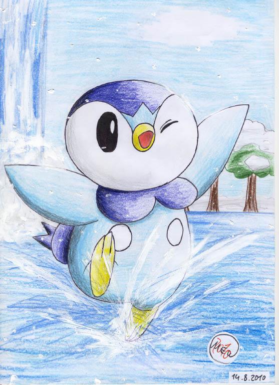 Pokémon-Zeichnung: Eisbaden bei Schneefall