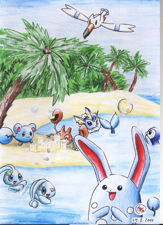 Pokémon-Zeichnung: Spass im Sommer
