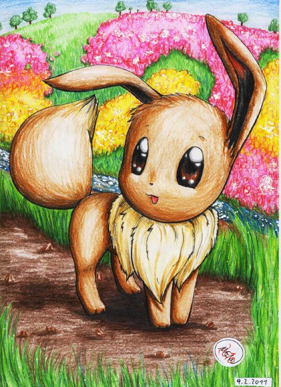 Pokémon-Zeichnung: Evoli in Blumenwiese