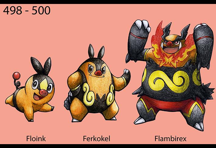 Pokémon-Zeichnung: 498-500