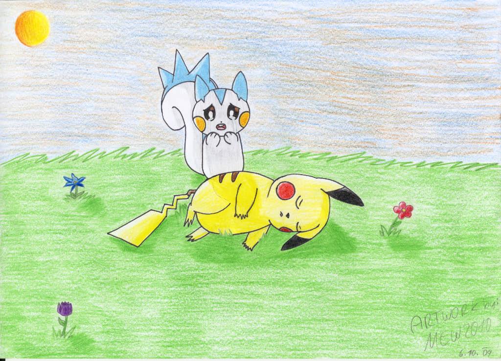 Pokémon-Zeichnung: pikachu und pachirisu