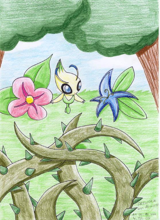 Pokémon-Zeichnung: celebi im wald