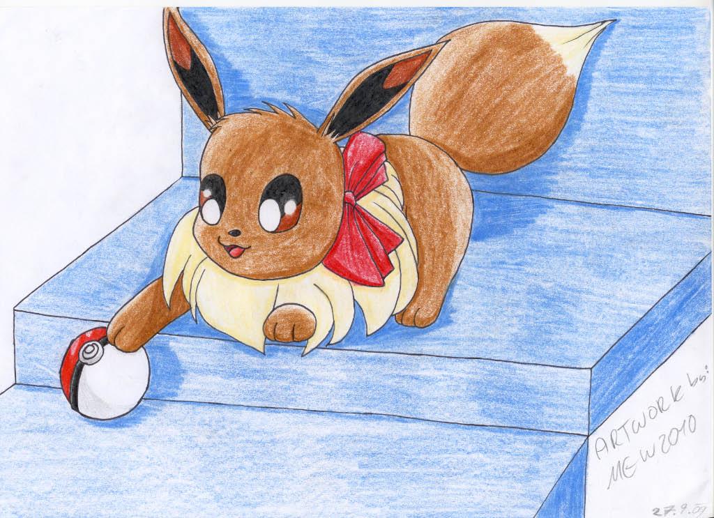 Pokémon-Zeichnung: spielendes evoli