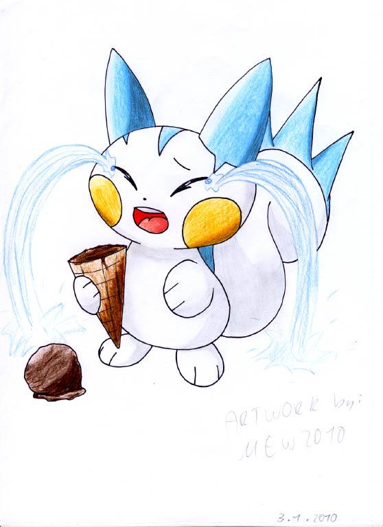 Pokémon-Zeichnung: Pachirisu und sein unglückliches Eis XDDD