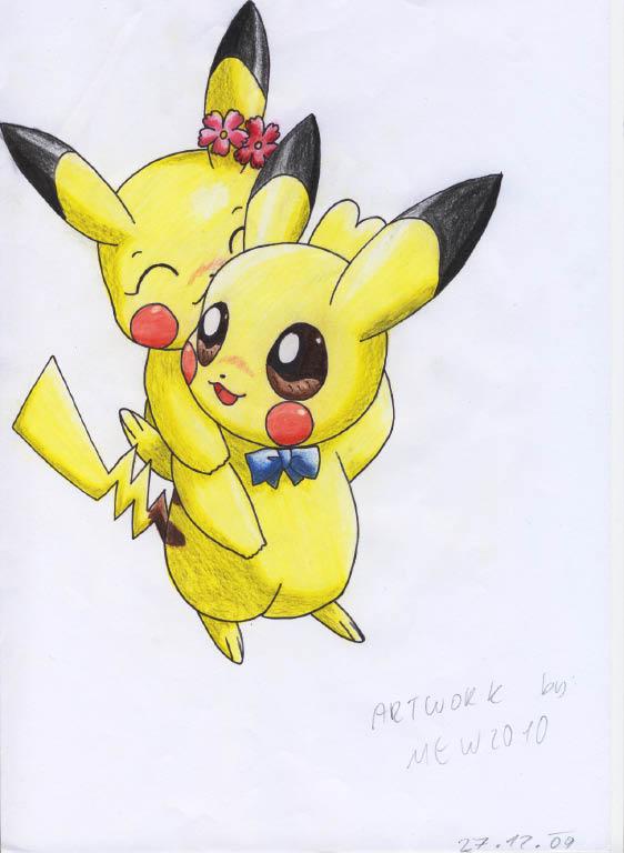 Pokémon-Zeichnung: Huckepack Pikachu xD