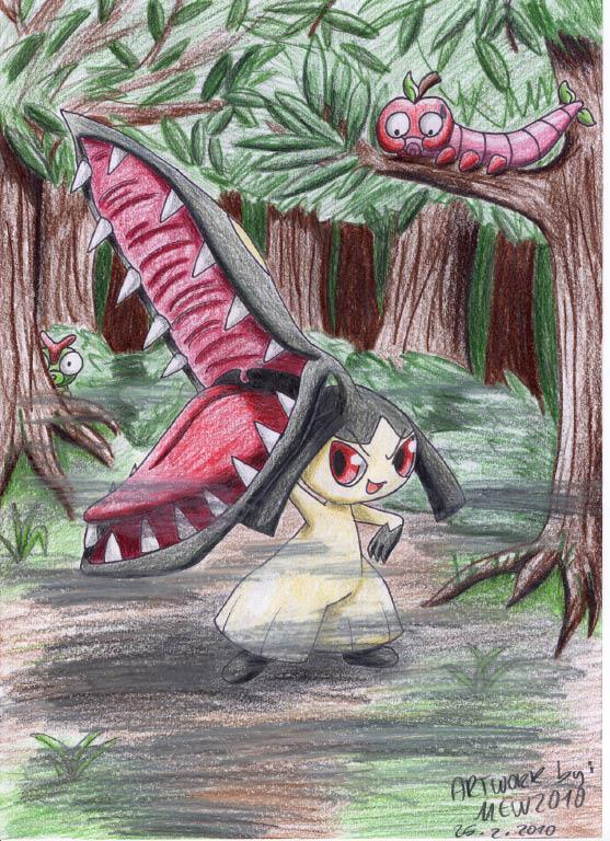 Pokémon-Zeichnung: Beutejagd im düsteren Wald