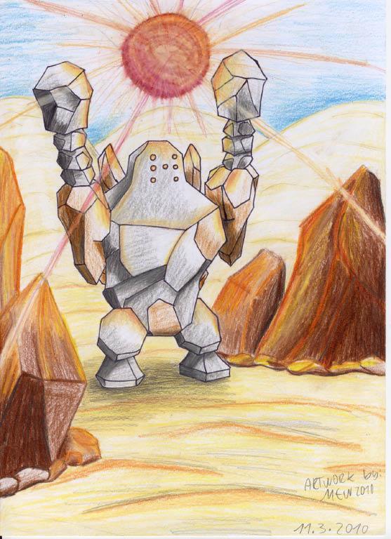 Pokémon-Zeichnung: Heißer Kampf in der Wüste