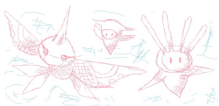 Pokémon-Zeichnung: Masquerain and Squibby