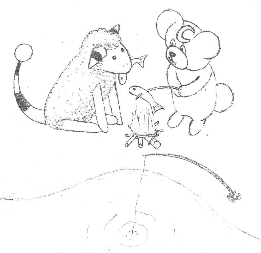 Pokémon-Zeichnung: 3. Szene - Fischzeit am See