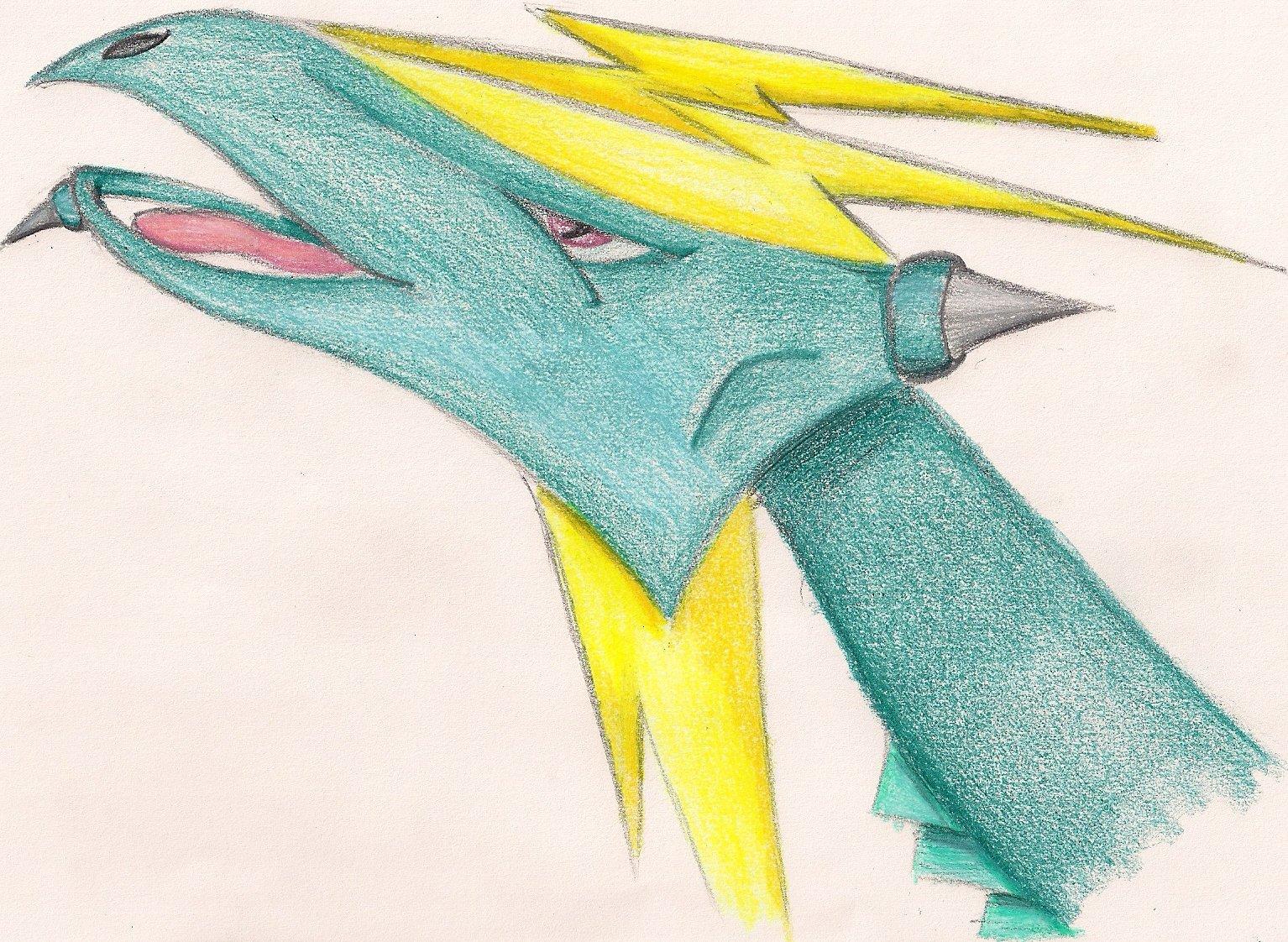 Pokémon-Zeichnung: Des grünen Blitzdrachens Kopf