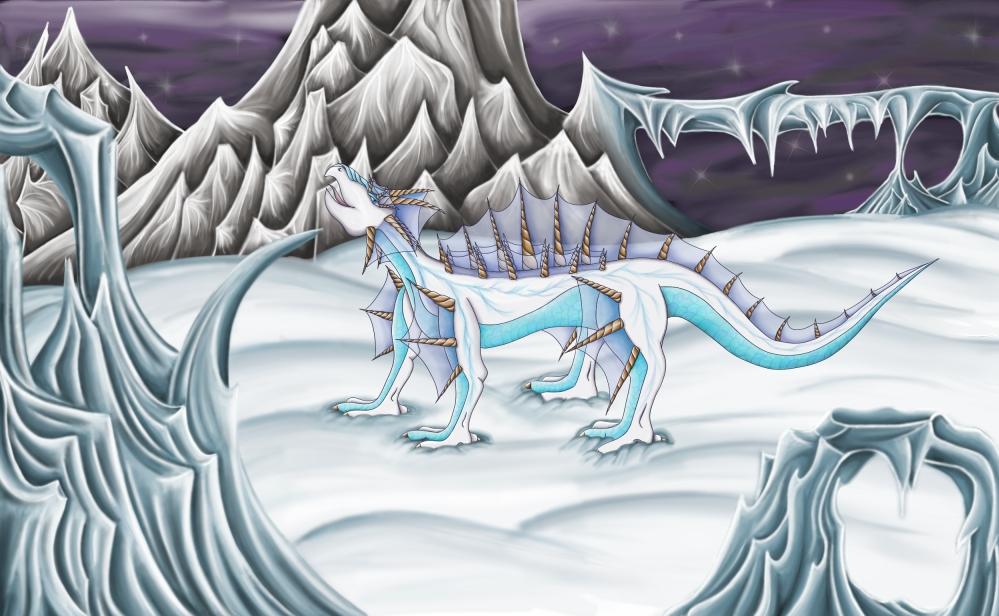 Pokémon-Zeichnung: Stegat in an icy world