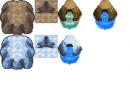 (Eis)Bergteilsets, Eiswasserquelle im (Eis)Bergstil und Meerwasserquelle im Bergstil