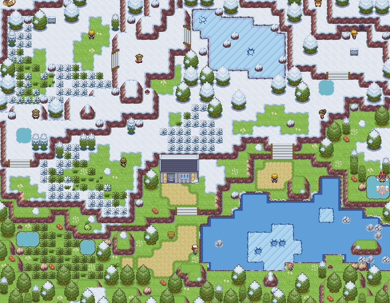 Pokémon-Map: Ein Bergsee mit schmelzendem Schnee..