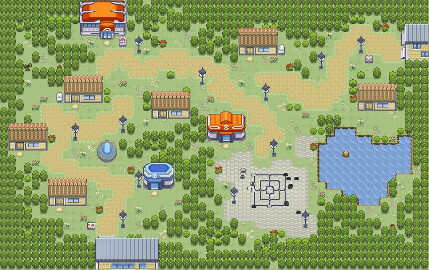Pokémon-Map: Ein Städtchen/Dorf am See