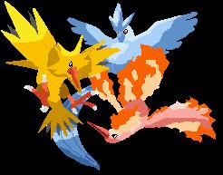 Pokémon-Zeichnung: Vogeltrio Lineless Shiny
