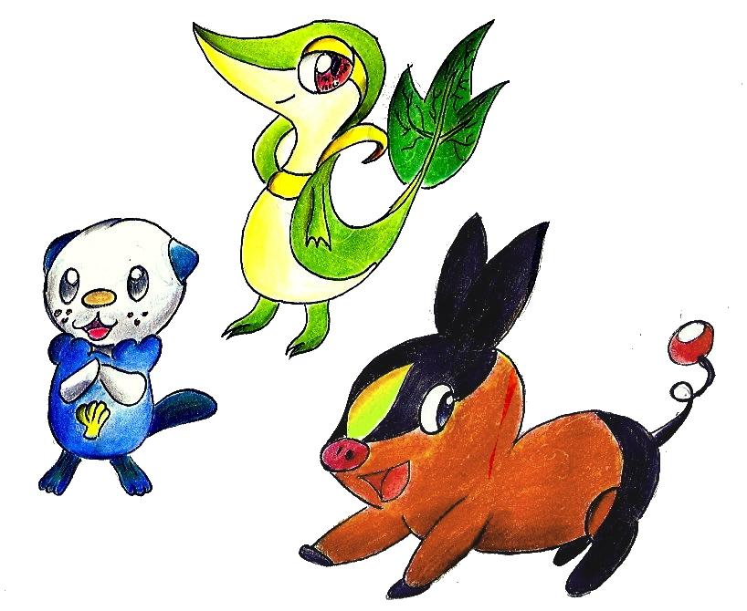 Pokémon-Zeichnung: neue Starter Colo