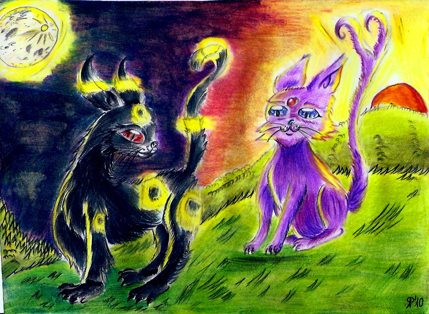 Pokémon-Zeichnung: Psiana und Nachtara für Pokefan Celine