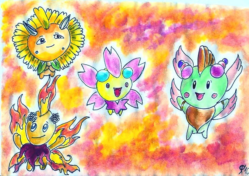 Pokémon-Zeichnung: Kinoso und seine Kollegen