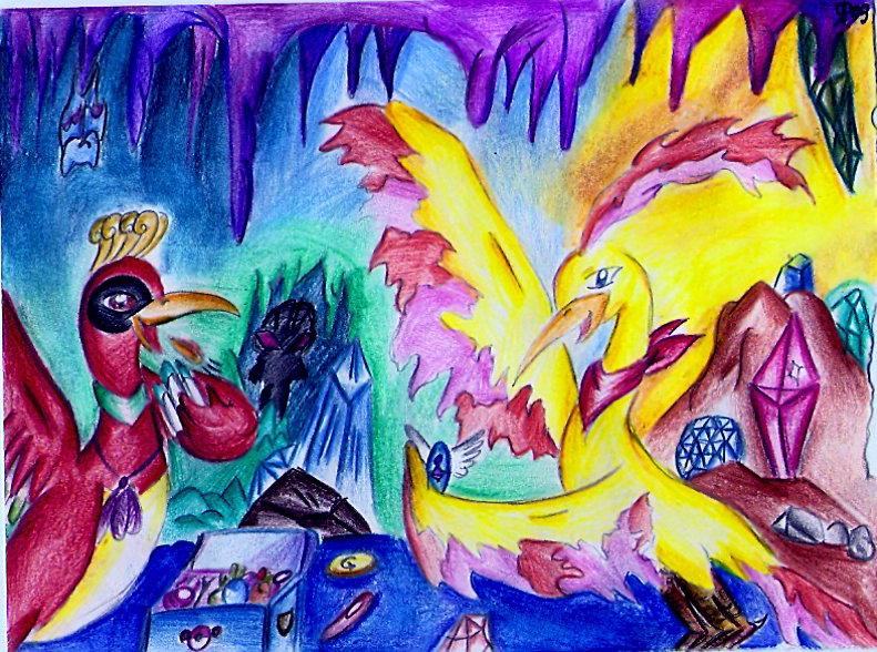Pokémon-Zeichnung: Ho-oh und Lavados in der Gilde