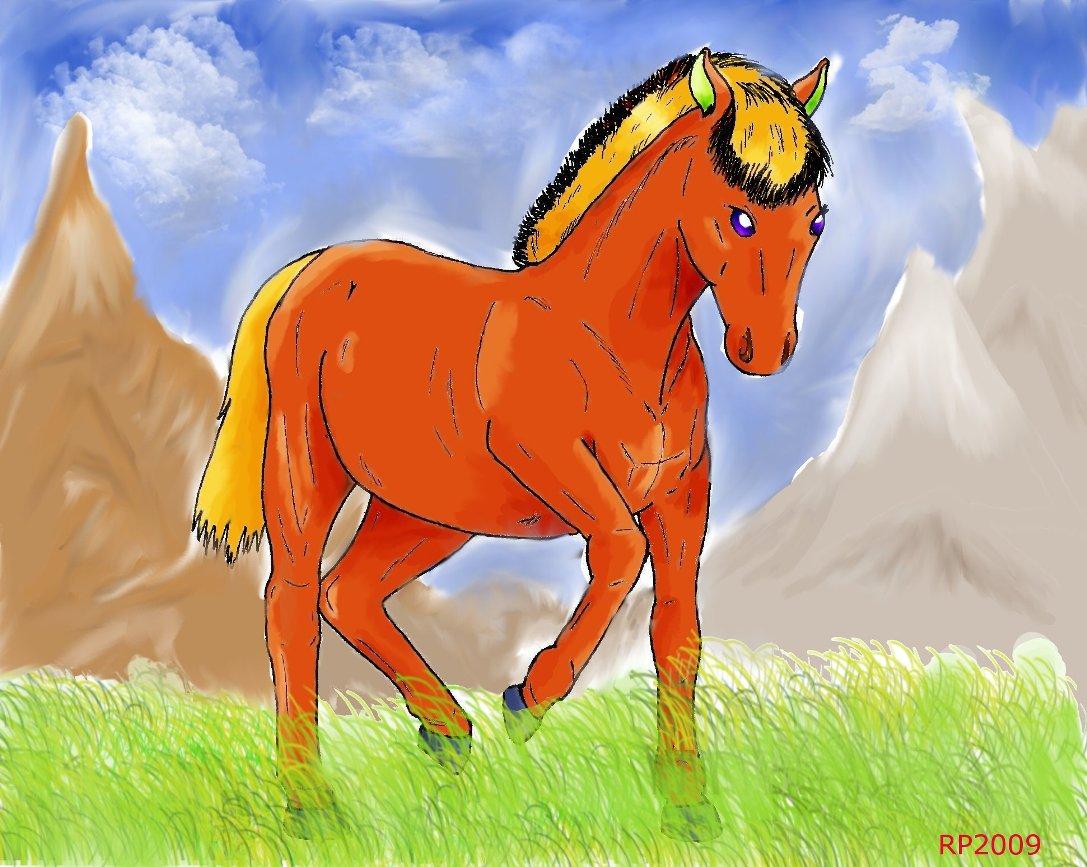 Pokémon-Zeichnung: Pferd im Gras