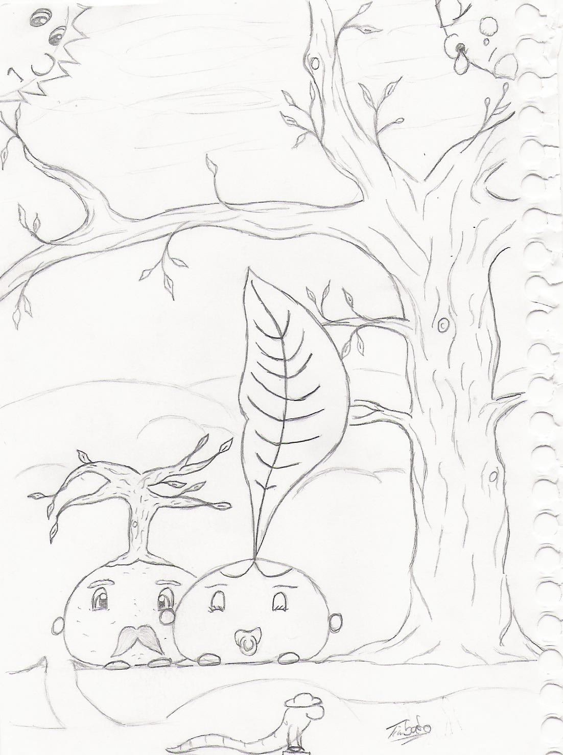 Pokémon-Zeichnung: Old & young / Winter & spring