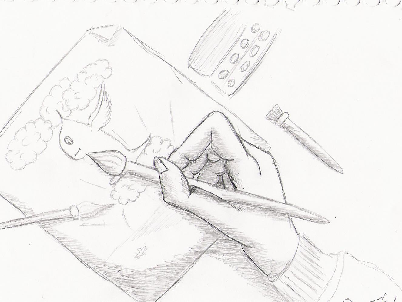Pokémon-Zeichnung: Pokemon-Zeichnende Hand