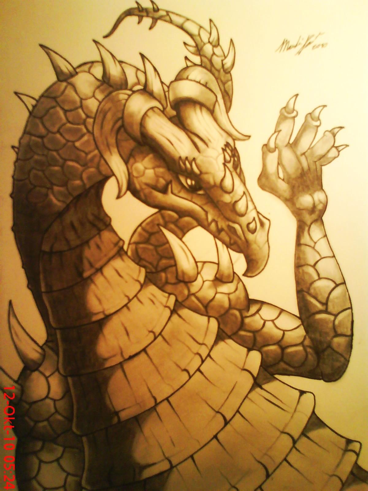 Pokémon-Zeichnung: Kupferfarbener Drache