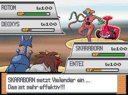 Pokémon-Fanart: Entei & Skaraborn Vs. Deoxys & Rotom