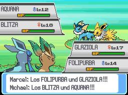 Pokémon-Fanart: Glaziola & Folipurba Vs. Aquana & Blitza