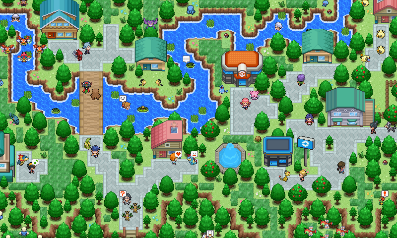 Pokémon-Map: Altes Dorf am Fluss
