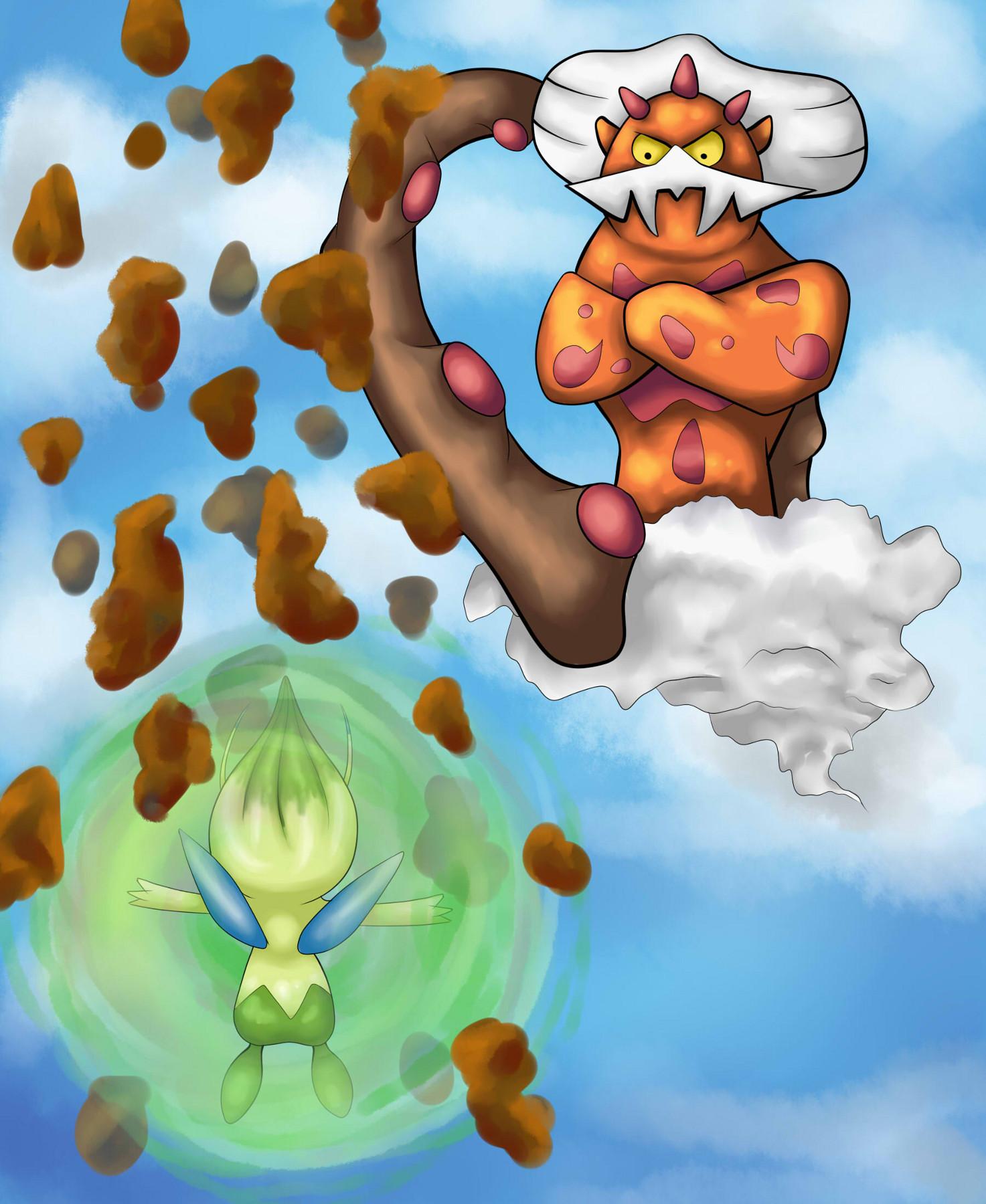 Pokémon-Zeichnung: Celebi vs Demeteros