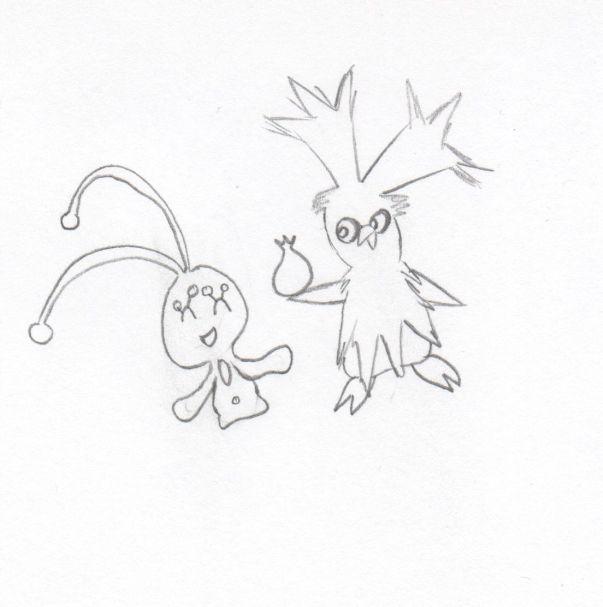 Pokémon-Zeichnung: Botogel und Manaphy