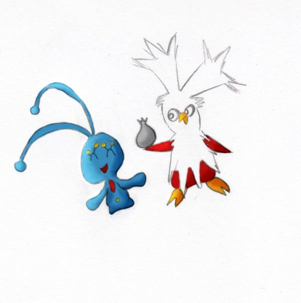 Pokémon-Zeichnung: Botogel und Manaphy (coloriert)