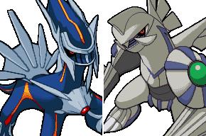 Pokémon-Zeichnung: Schatten-Dialga und Schatten-Palkia in Pokemon Ranger