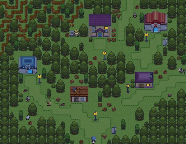 Pokémon-Map: Dorf bei Nacht