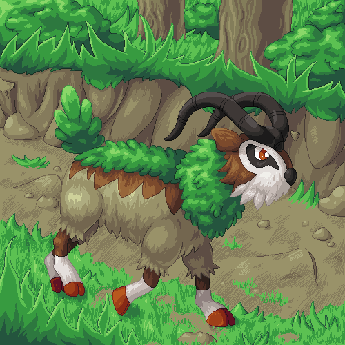 Pokémon-Pixelart: Gogoat (den deutschen Namen kann ich mir nicht merken, der ist doof)