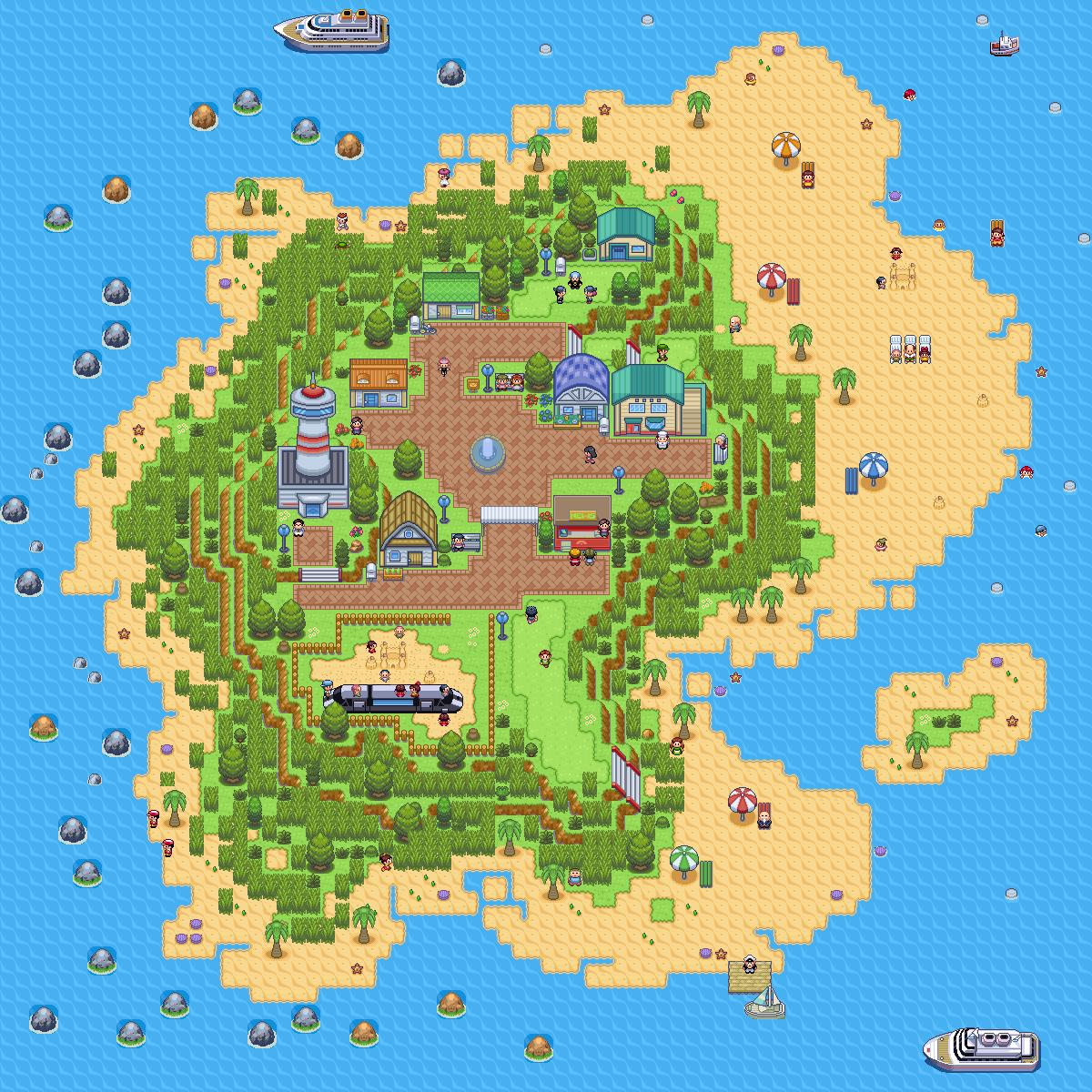 Pokémon-Map: Insel mit Zug