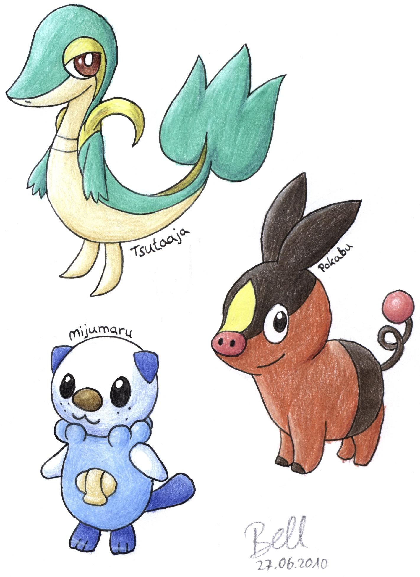 Pokémon-Zeichnung: Tsutaaja, Pokabu & Mijumaru